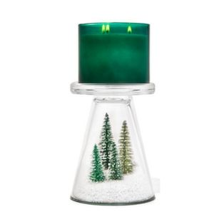 Snowy Glass Pedestal Candle Holder